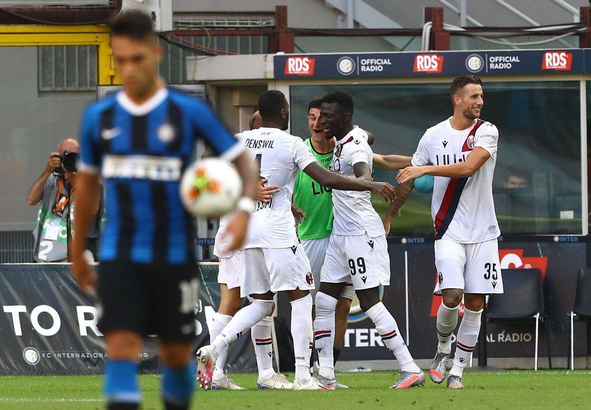Crollo Inter col Bologna, l'Atalanta vince e si porta a -1