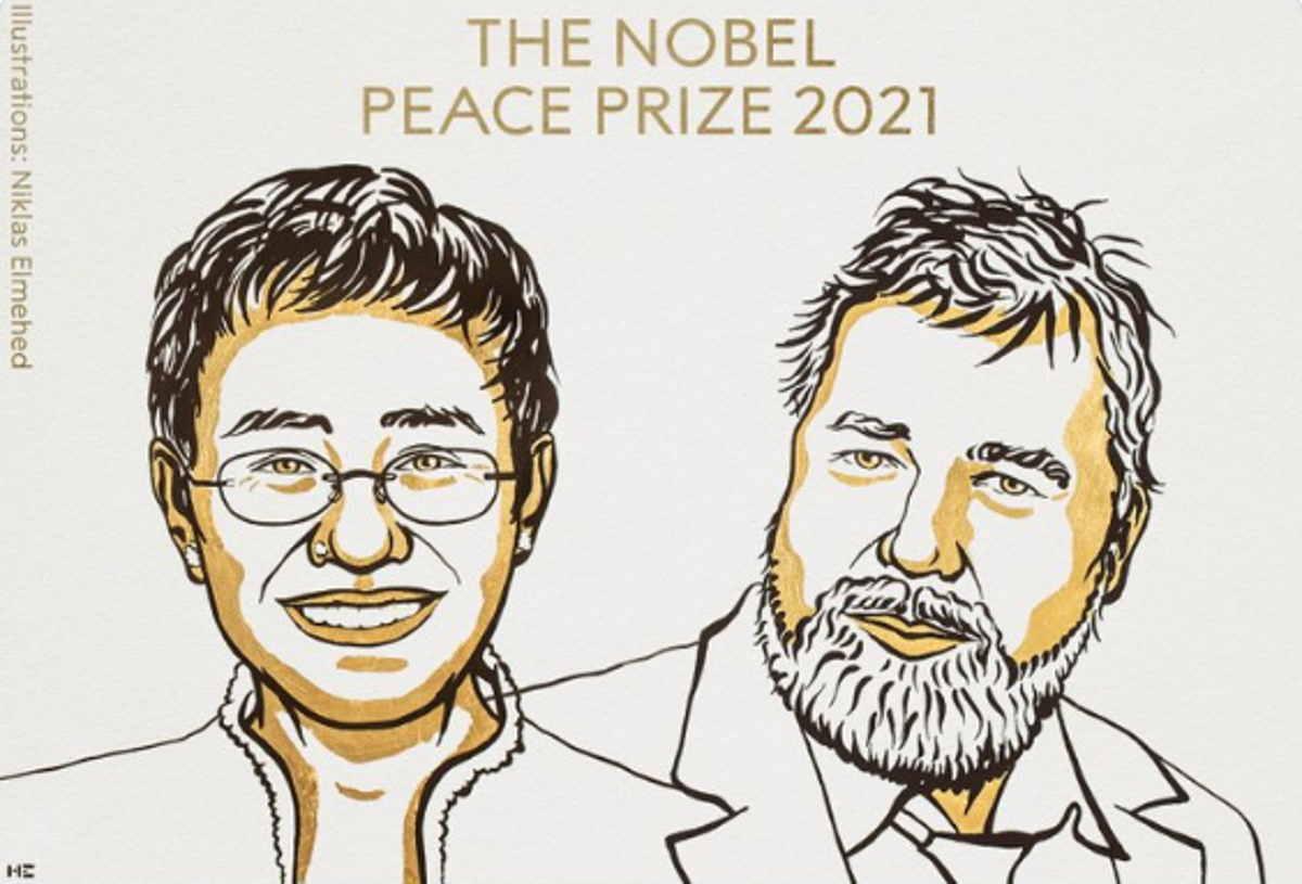 Maria Ressa e Dmitry Muratov, vincitori del premio Nobel per la Pace 2021, in un'illustrazione