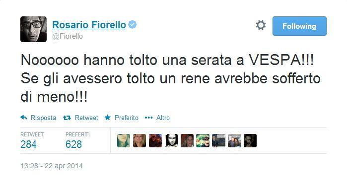 Tweet Fiorello contro Vespa