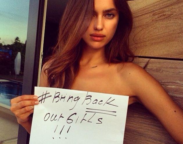 Irina Shayk in topless per #BringBackOurGirls: è polemica