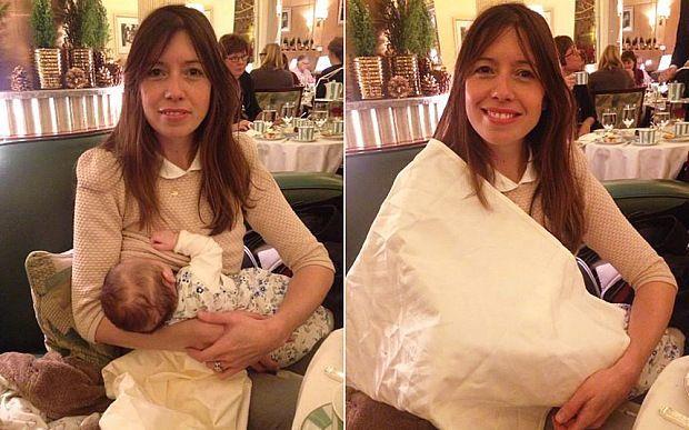 Allatta al seno il figlio al ristorante ma è costretta a coprirsi con una tovaglia