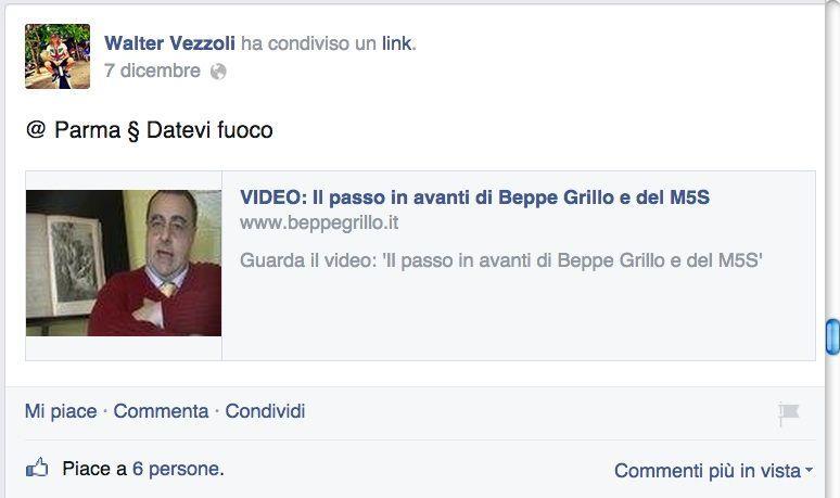 M5S, l'autista di Grillo contro Pizzarotti: 'Datevi fuoco'