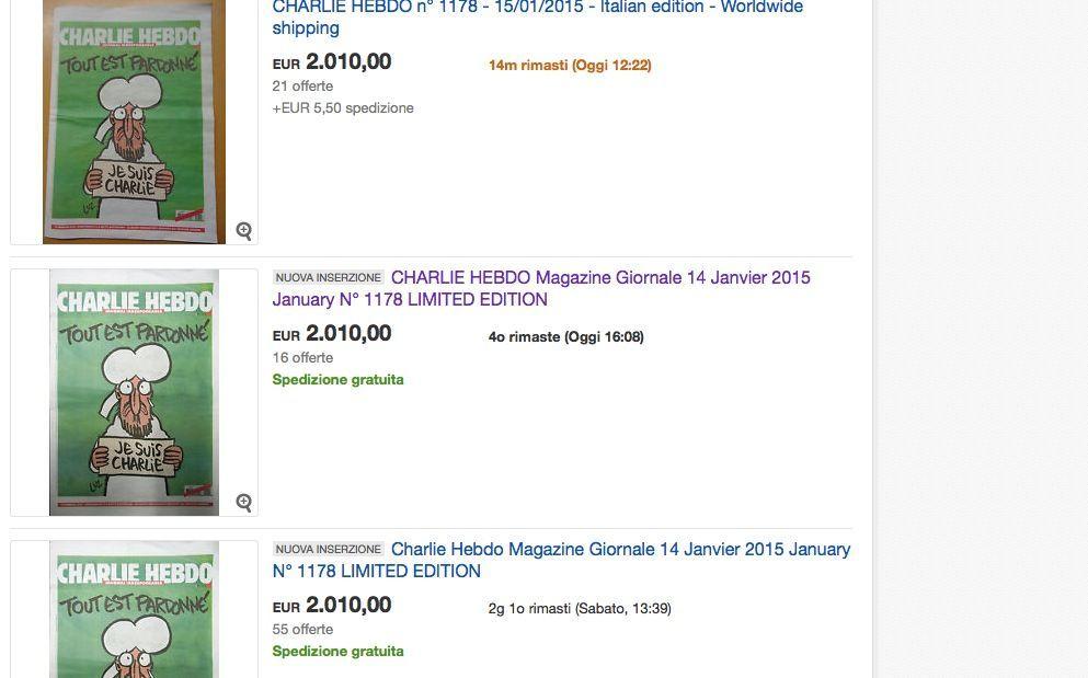 Charlie Hebdo su eBay: prezzi folli e sciacalli in azione sul sito d'aste