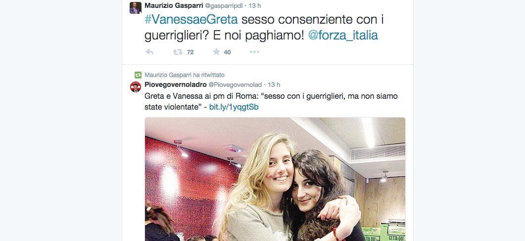 Maurizio Gasparri nella bufera dopo il tweet su Greta e Vanessa