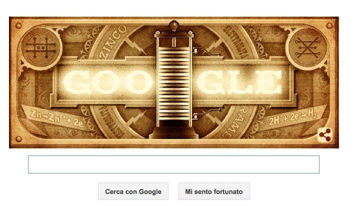 Google Doodle per Alessandro Volta e la sua pila elettrochimica