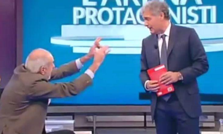Massimo Giletti contro Mario Capanna, multa Rai da 25.000 euro: 'Gesto nazistoide e cattivo giornalismo'