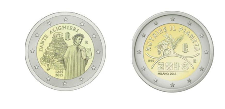 Monete commemorative da 2 euro, l'Italia celebra Dante Alighieri e l'Expo