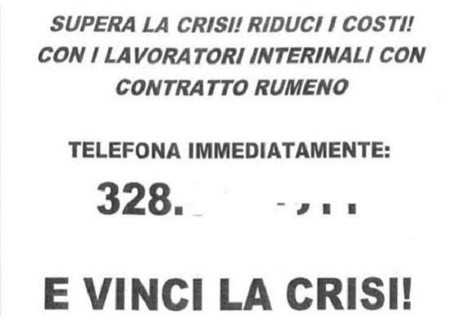 Agenzia interinale offre lavoro con contratto rumeno a Modena