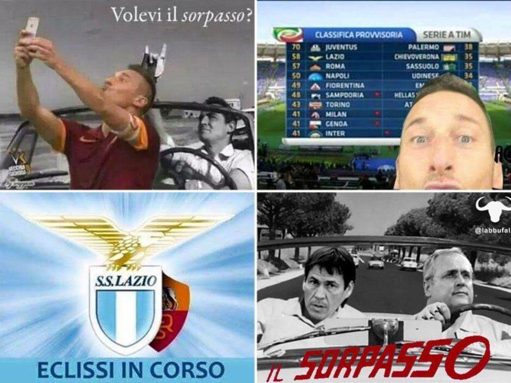 Sorpasso Lazio-Roma: il web è scatenato