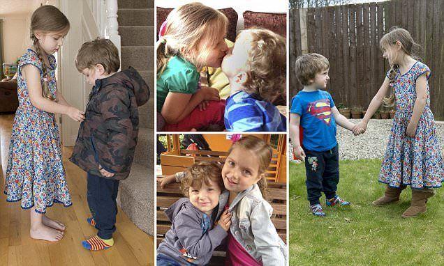 Bimba di 5 anni si prende cura del fratellino di 3 malato di distrofia di Duchenne