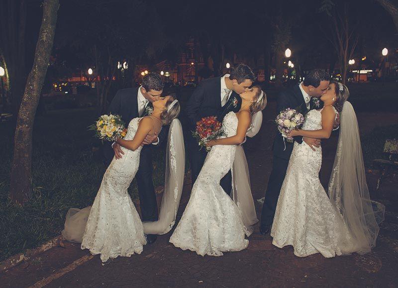 Tre gemelle spose nello stesso giorno, i mariti faticano a riconoscerle