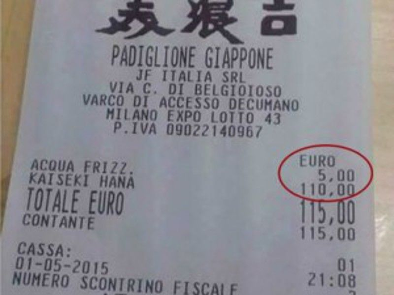 Expo: lo scontrino da 115 euro non è una bufala, ecco la verità