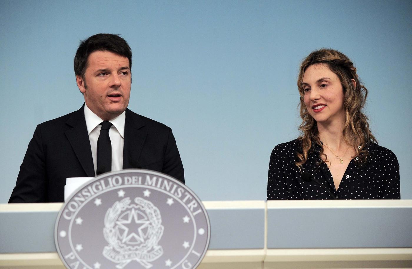 Palazzo Chigi, conferenza stampa Renzi, Giannini e Madia