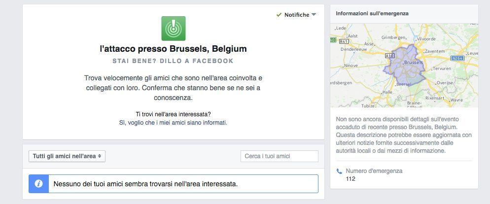 attentati Bruxelles safety check facebook