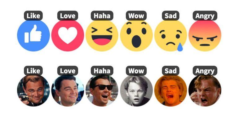 reactions facebook leonardo di caprio