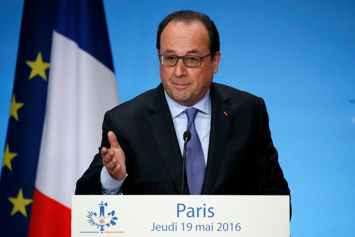 Parigi, la conferenza del presidente Francois Hollande all'Eliseo