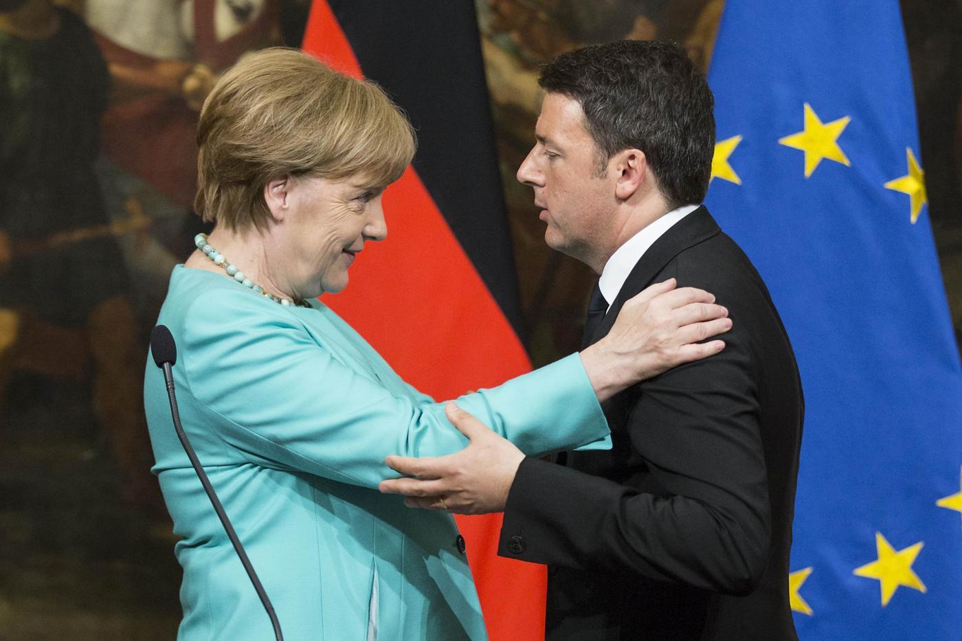 Palazzo Chigi Matteo Renzi riceve Angela Merkel