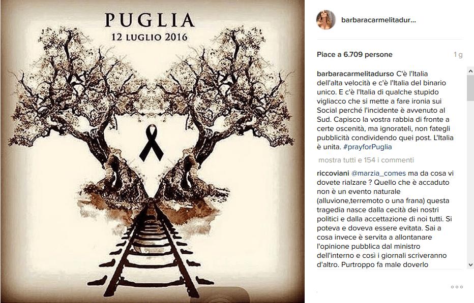 Scontro treni in Puglia, le reazioni dei VIP