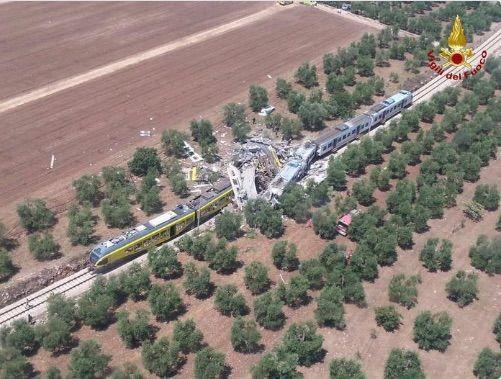 Incidente ferroviario in Puglia fra Corato e Andria: morti e feriti nello scontro