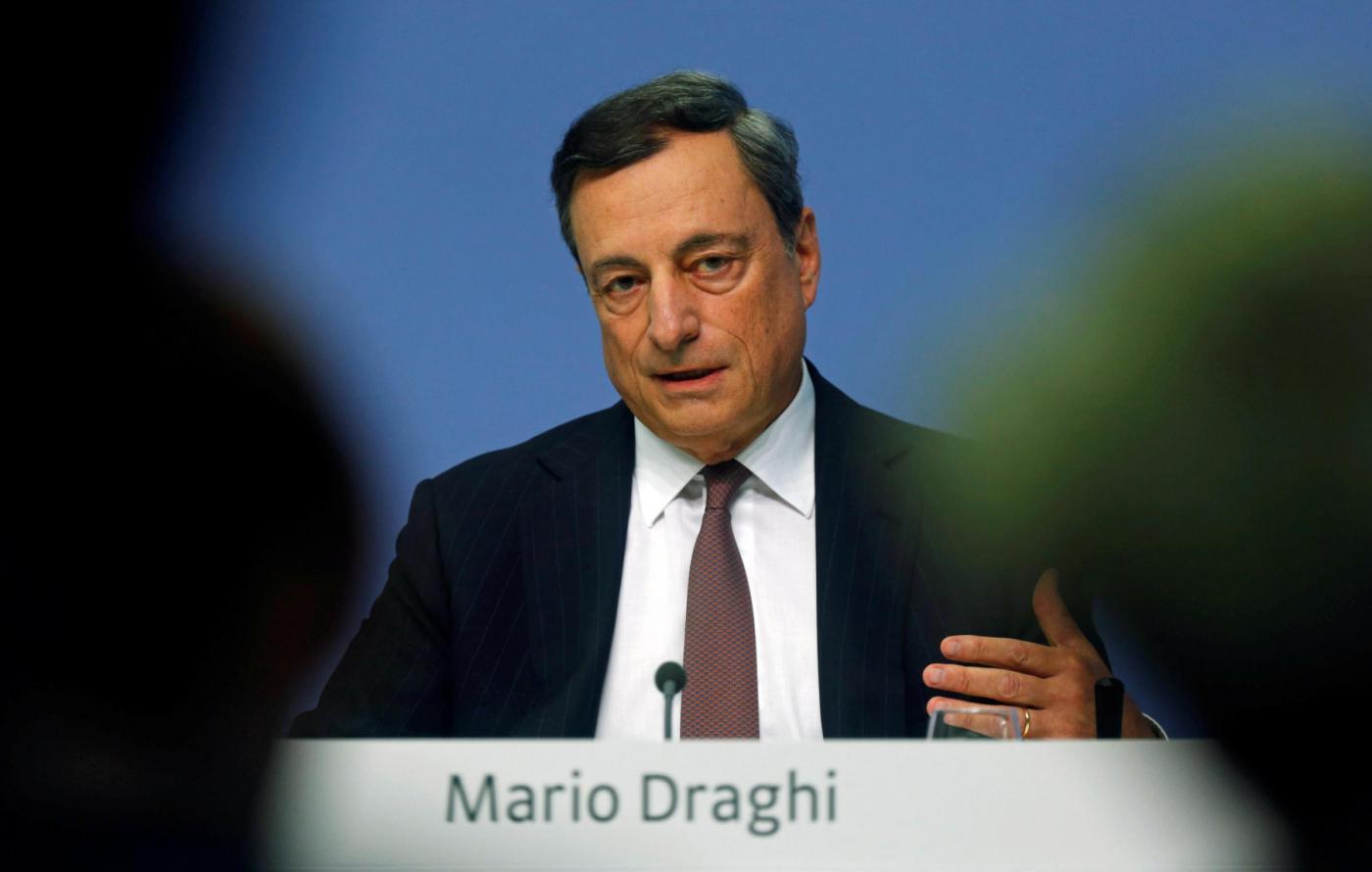 Francoforte, la conferenza stampa del presidente della BCE Mario Draghi
