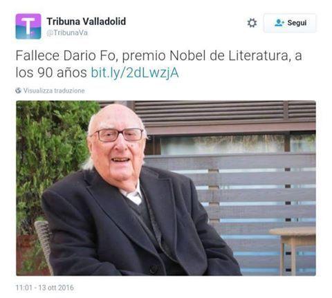 'Oggi è morto Dario Fo', ma il sito spagnolo pubblica la foto di Andrea Camilleri