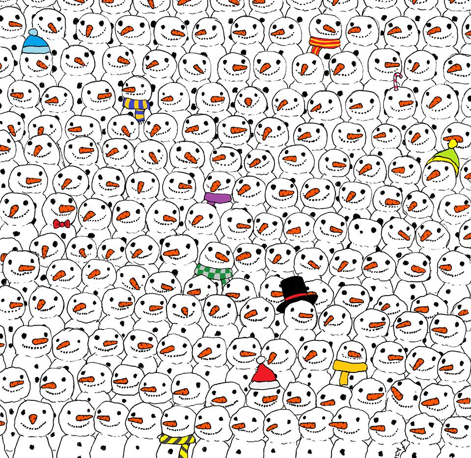 In mezzo ai pupazzi di neve si nasconde un panda: sei in grado di trovarlo?