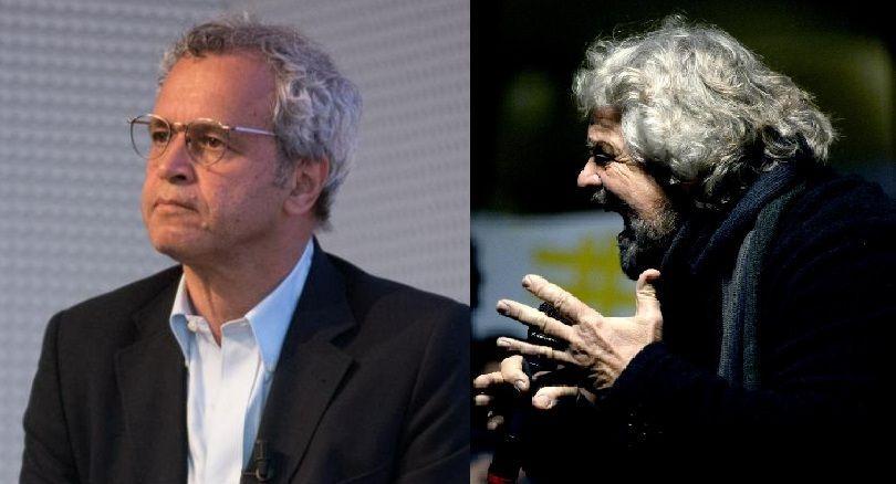 Enrico Mentana e Beppe Grillo