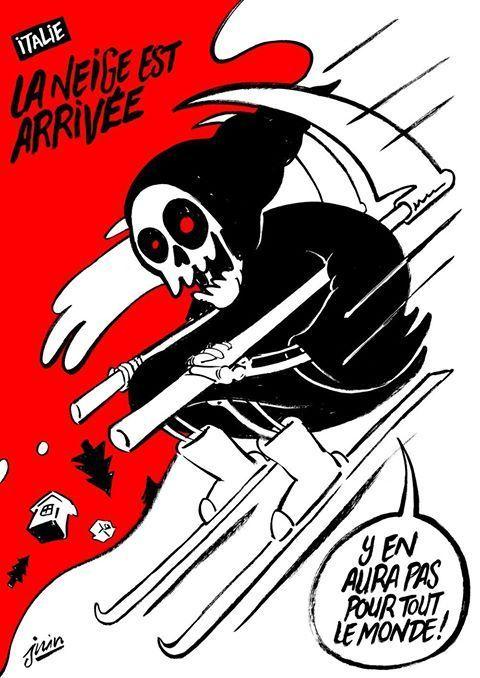 vignetta charlie hebdo dopo slavina su Hotel Rigopiano