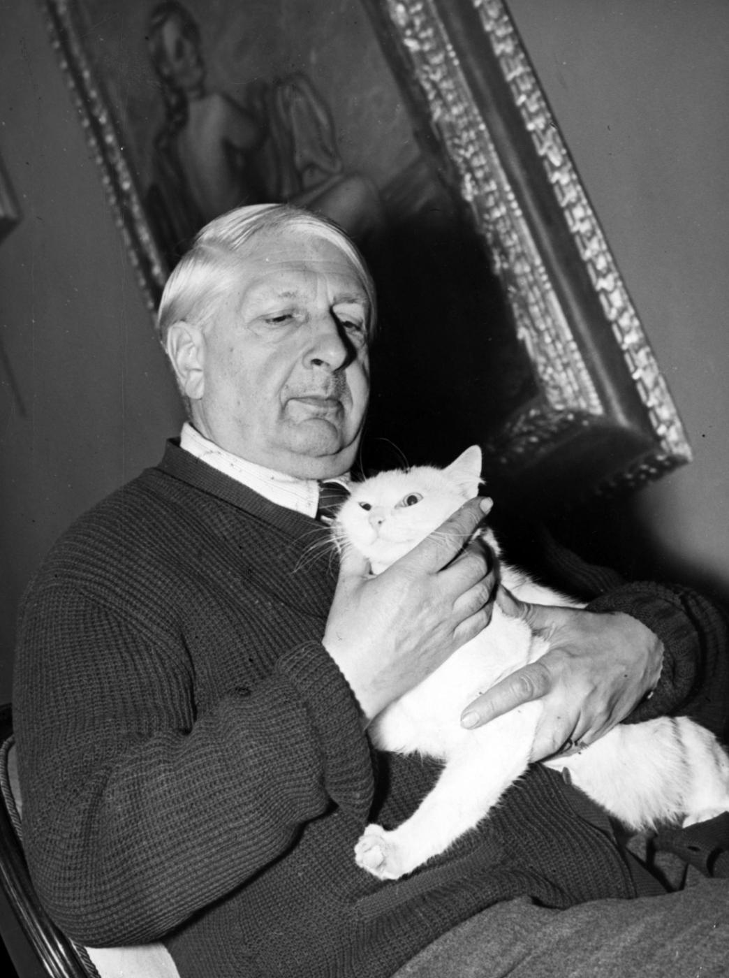 Giorgio de Chirico con gatto