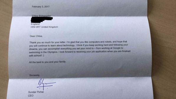 La bambina che voleva lavorare da Google riceve una risposta dall'AD