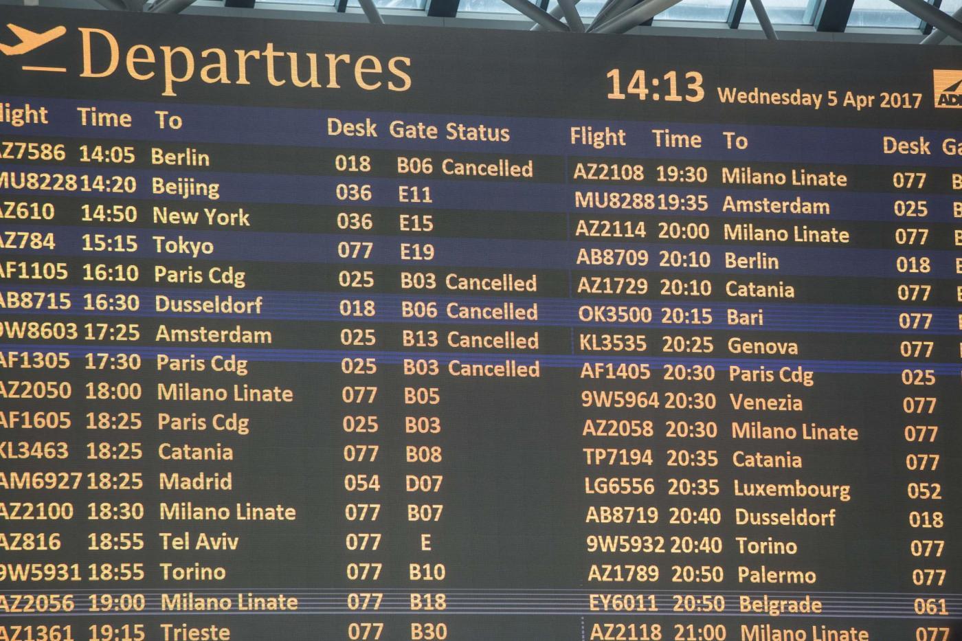 sciopero aerei 21 aprile 2017 alitalia meridiana easyjet