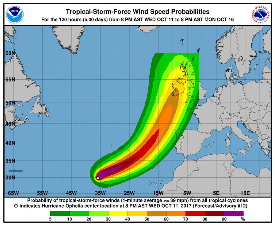 Ophelia: tempesta tropicale diventa uragano cat. 1