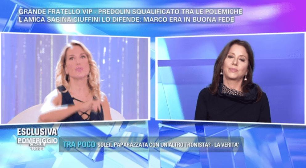 Sabina Ciuffini difende Marco Predolin a Pomeriggio 5