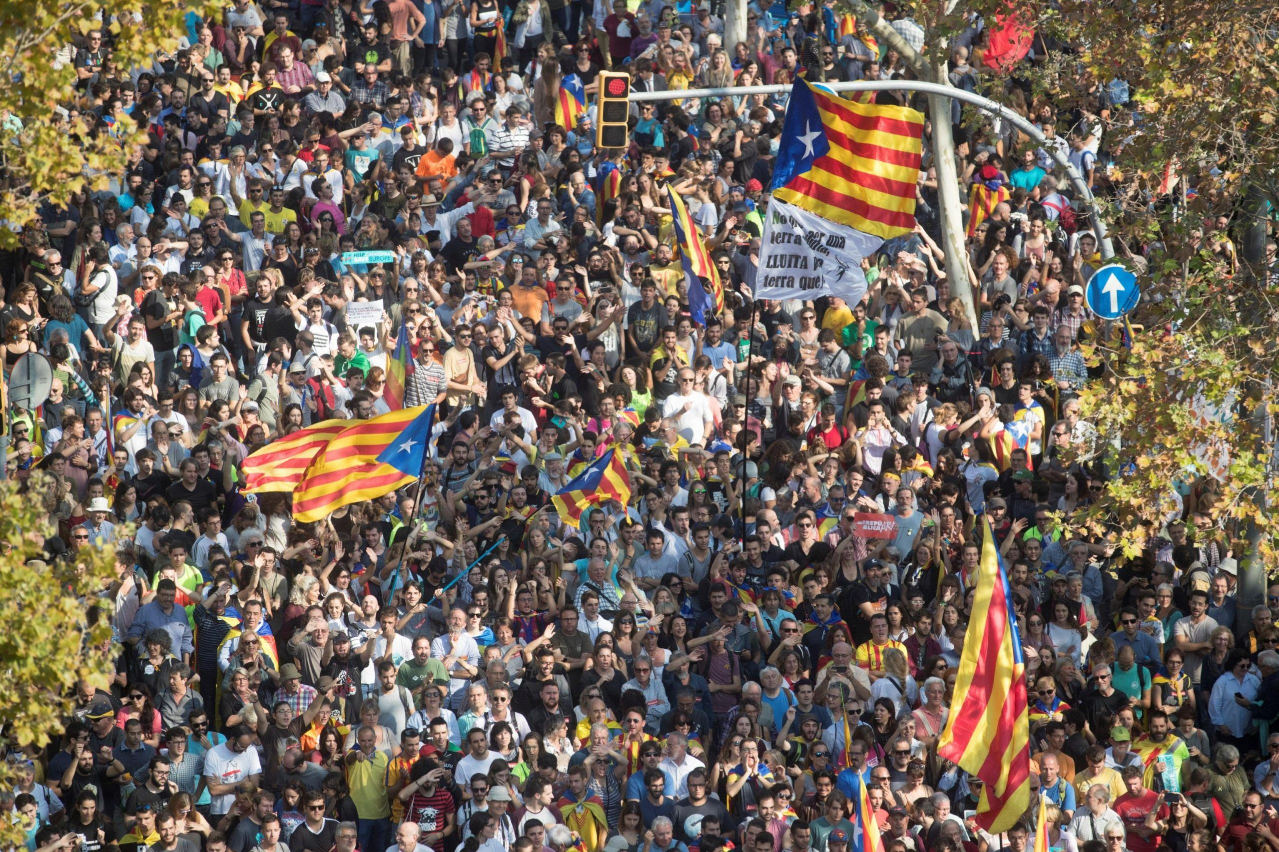 Protest in support of the independence declaration in Catalonia