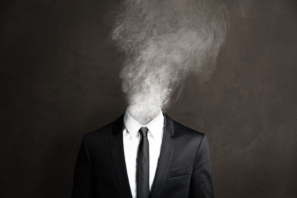 smoking worker