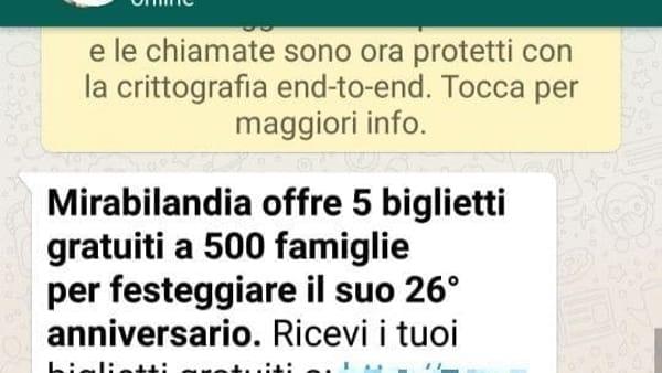 Biglietti gratis Mirabiliandia, la nuova truffa su WhatsApp