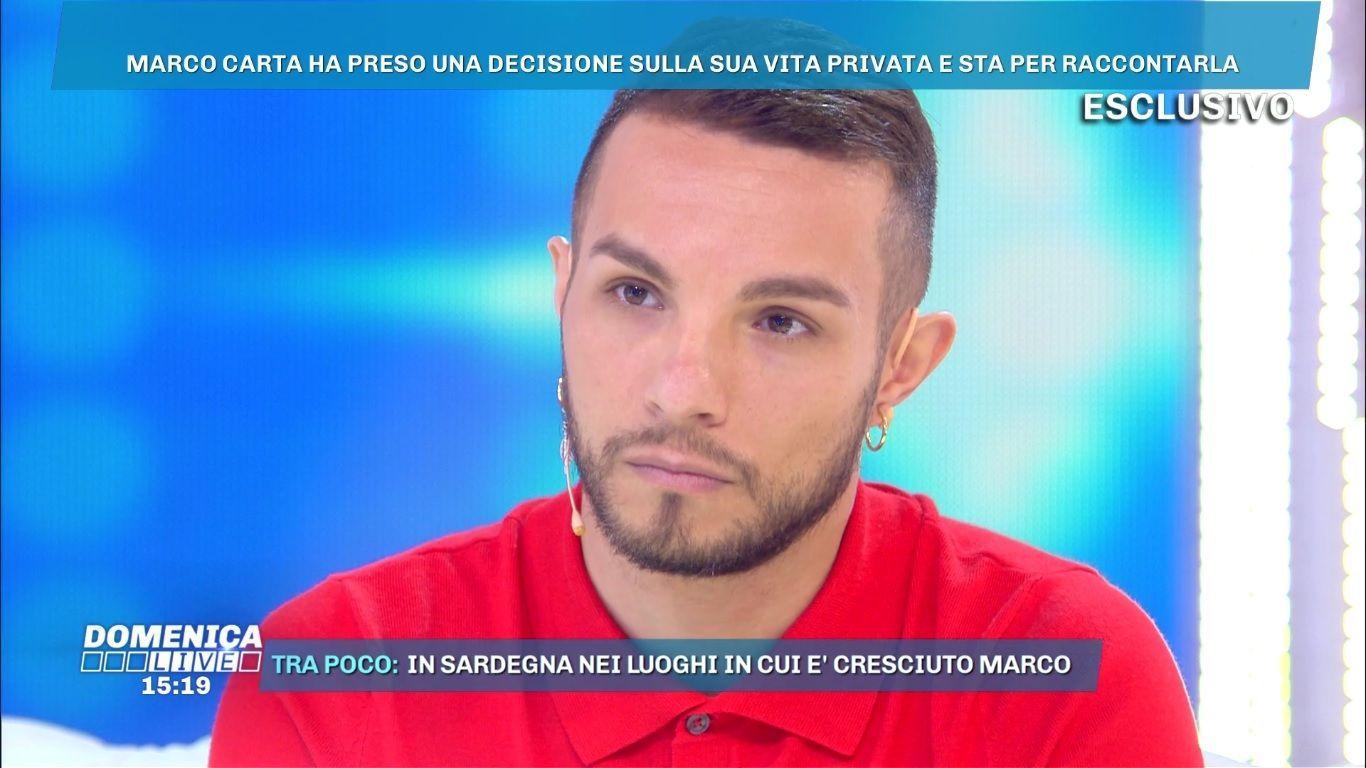 Marco Carta, coming out a Domenica Live: 'Ho un fidanzato e sono felice'
