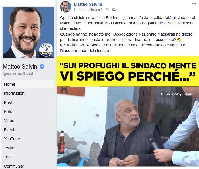 Salvini contro il sindaco di Riace posta il video di un prestanome della 'ndrangheta