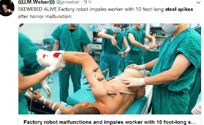 Il robot ha un guasto, operaio trafitto da 10 punte d'acciaio