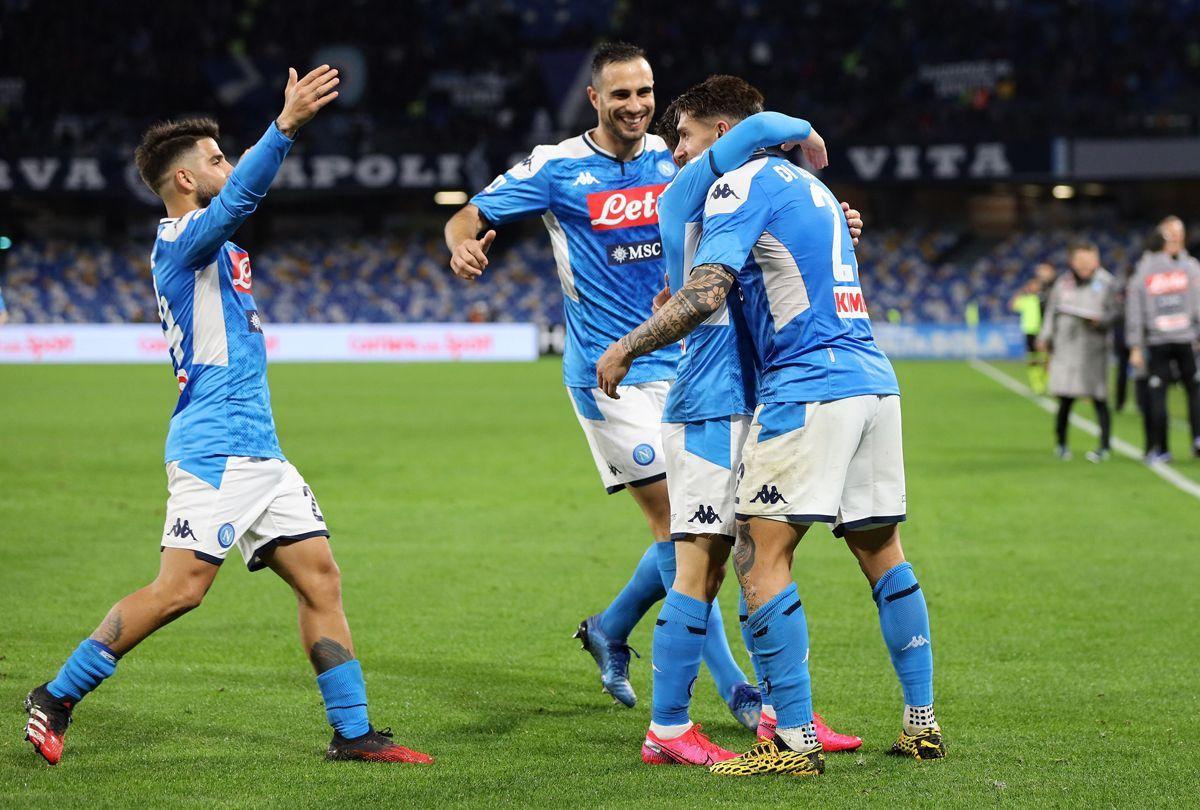 I giocatori del Napoli esultano
