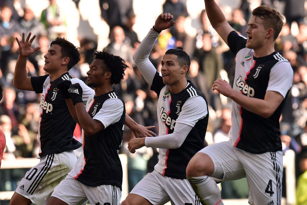 I giocatori della Juventus festeggiano