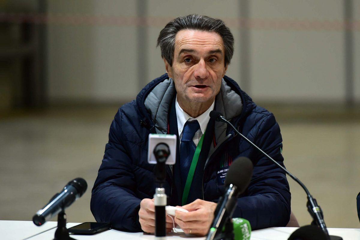 Attilio Fontana, Governatore della Regione Lombardia, parla durante la conferenza stampa di presentazione del progetto durante l'epidemia di coronavirus il 16 marzo 2020 a Milano, Italia