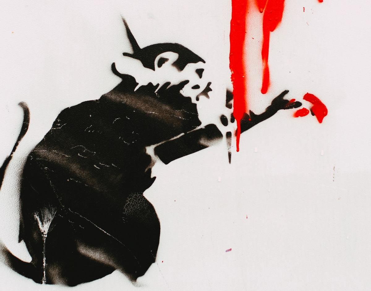 Banksy Rat Graffiti particolare