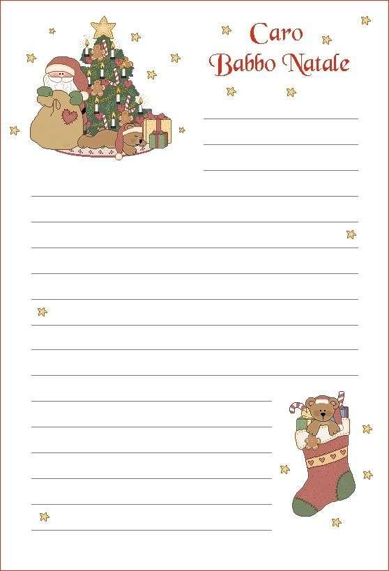 Letterina di Babbo Natale con albero e calza