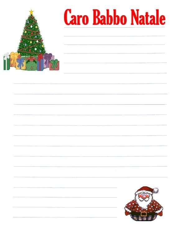 Letterina di Babbo Natale con albero e Santa Claus