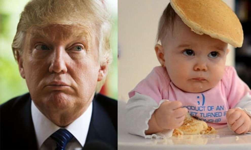 Bimbo che mangia un pancake