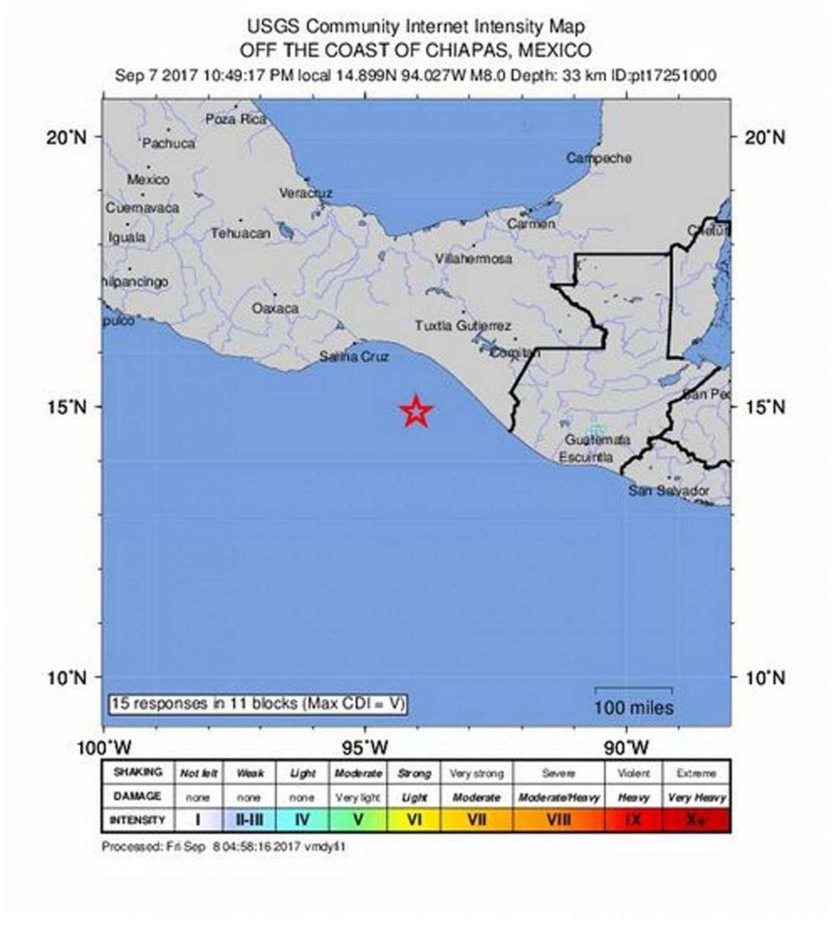 L'epicentro del sisma
