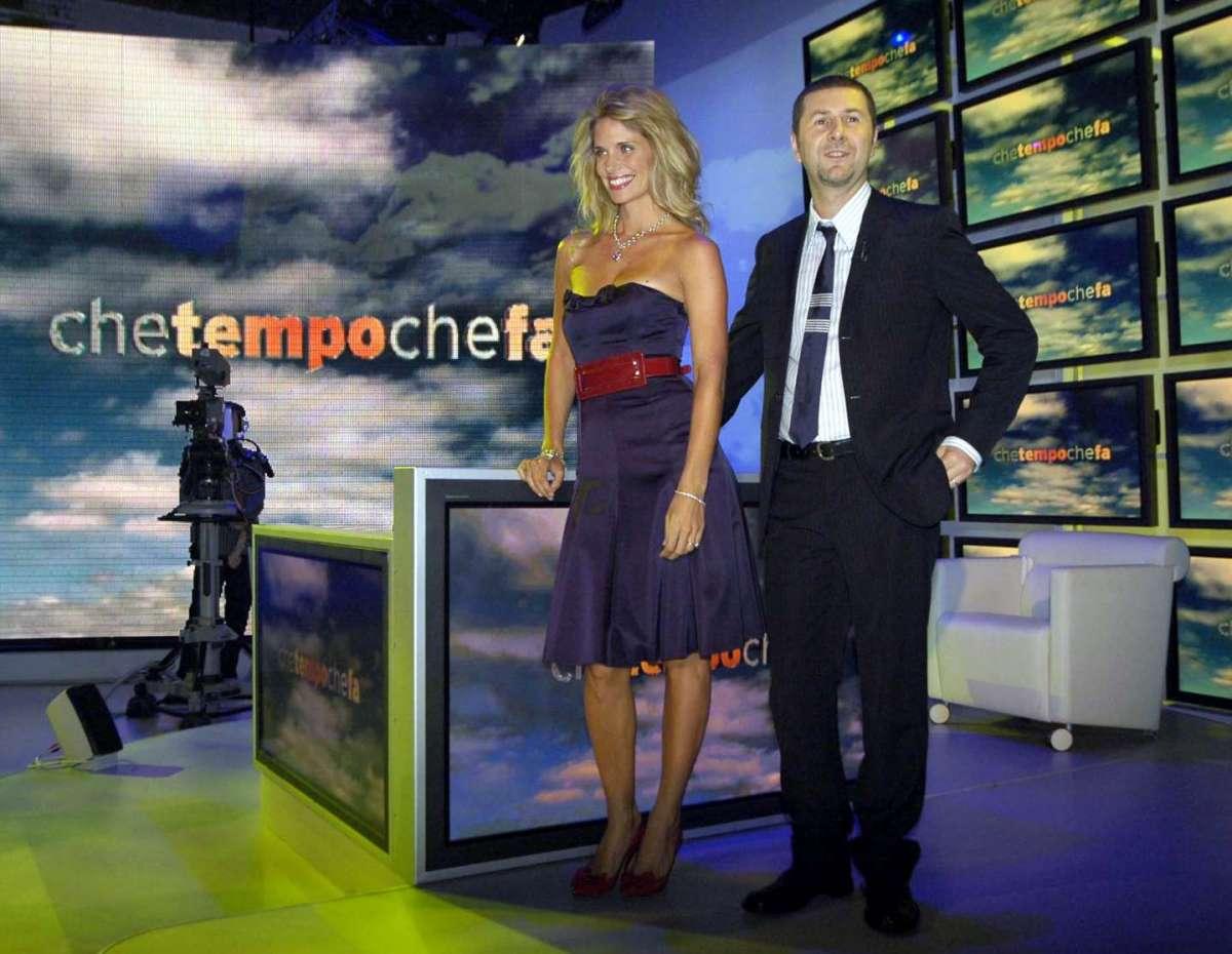Filippa Lagerback accanto a Fabio Fazio