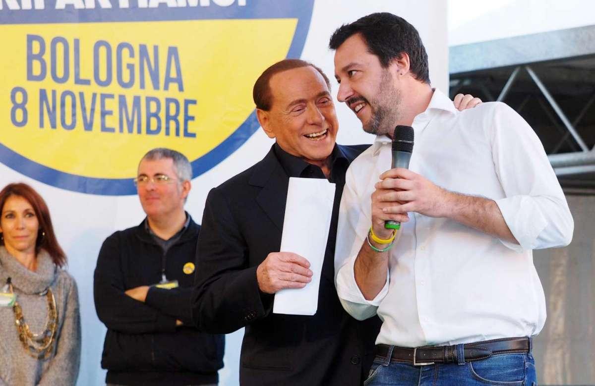 Matteo Salvini con Silvio Berlusconi